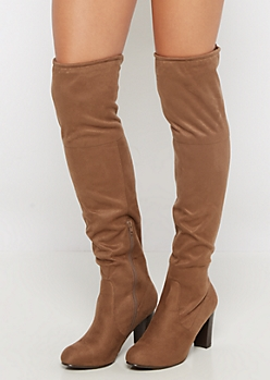 Tan Faux Suede Lace Back Over-the-Knee Boot