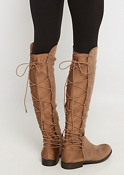 Tan Lace Up Back Mock Suede Boot by Wild Diva®