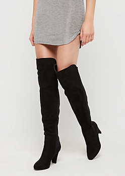 Half Faux Suede Over The Knee Boots