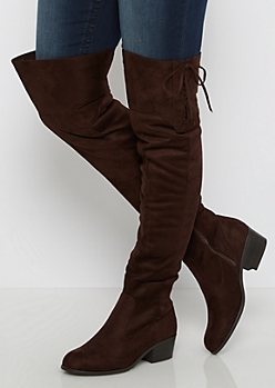 Chocolate Laced Side Mock Suede Over-the-Knee Boot