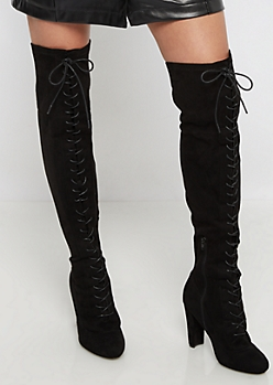Black Lace Up Front Over-The -Knee Boot