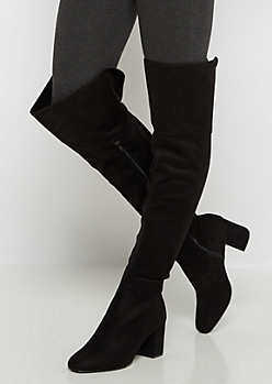 Microsuede Over-The-Knee Stacked Heel Boot