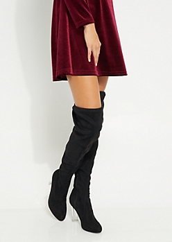 Black Faux Suede Clear Heel Over The Knee Boot By Wild Diva