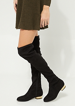 Black Pearled Heel Over The Knee Tie Boot By Wild Diva