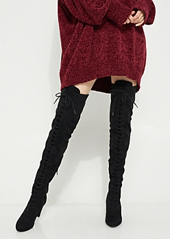 Black Suede Lace Up Over The Knee Boot