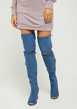 Destroyed Denim Peep Toe Thigh High Boots