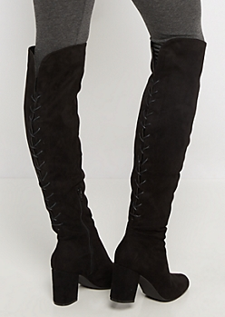 Black Laced Back Over-The-Knee Boot