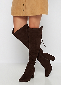 Brown Laced Back Over-The-Knee Boot