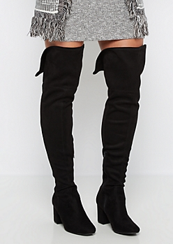 Micro Suede Chunky Heel Over-The-Knee Boot