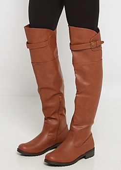 Brown Buckled Thigh High Boot by Wild Diva®
