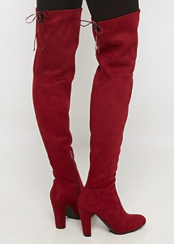 Burgundy Bow Back Thigh High Boot by Wild Diva®