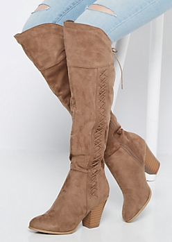 Taupe Lattice Over-The-Knee Boot