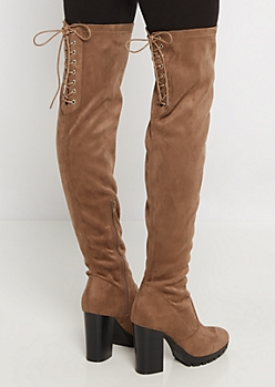 Tan Lug Sole Thigh High Boot by Wild Diva®