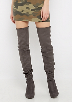 Charcoal Faux Suede Thigh High Boots