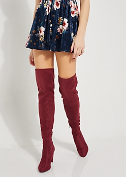 Burgundy Faux Suede Over The Knee Boots