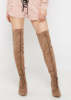 Taupe Lace-Up Over-The-Knee Boots