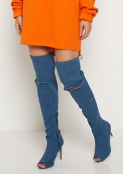 Destroyed Denim Thigh High Boots by Wild Diva