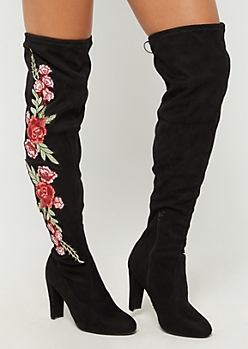 Floral Embroidered Over The Knee Boots