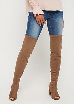 Taupe Open Toe Thigh High Boots By Wild Diva