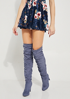 Blue Faux Suede Scrunched Over The Knee Boots