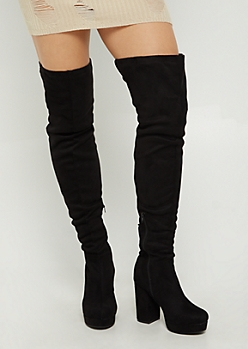 Black Faux Suede Over The Knee Platform Boot By Wild Diva