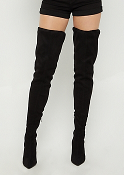 Black Faux Suede Stiletto Over The Knee Boot By Wild Diva
