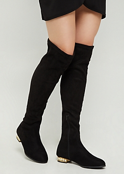 Black Pearled Heel Over the Knee Boot