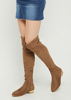 Taupe Pearled Heel Over the Knee Boot