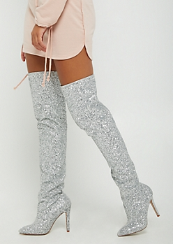 Glittering Thigh High Stiletto Boots