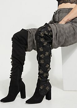 Floral Applique Over The Knee Boots