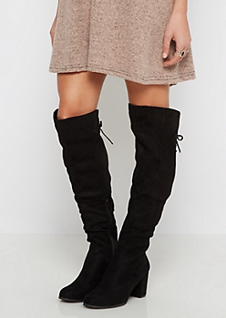 Black Lace Up Back Over-The-Knee Boot By  Wild Diva
