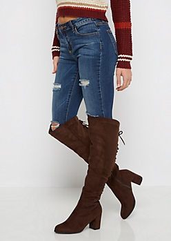 Brown Lace Up Back Over-The-Knee Boot By  Wild Diva