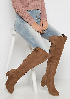 Taupe Lace Up Back Over-The-Knee Boot By  Wild Diva
