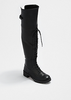 Black Laced Over-The-Knee Boot By dollhouse®