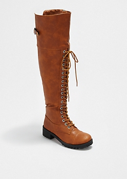 Cognac Laced Over-The-Knee Boot By dollhouse®