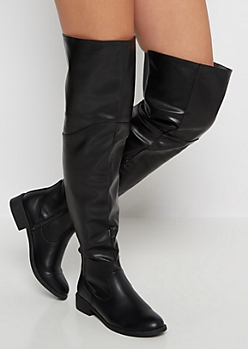 Black Gored Back Inset Thigh High Boots