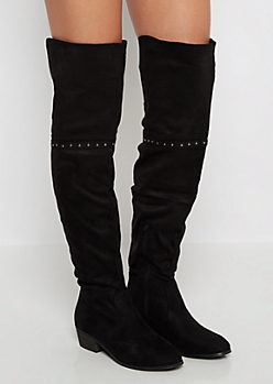 Black Mock Suede Gored Back Thigh High Boots