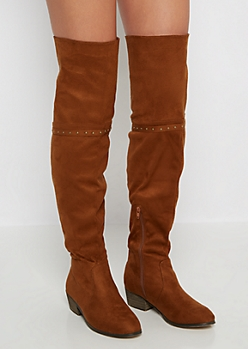 Cognac Mock Suede Gored Back Thigh High Boots