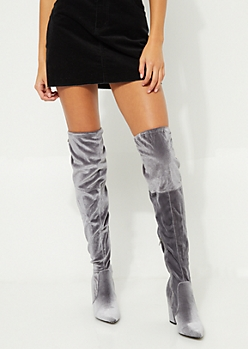 Gray Velvet Over The Knee Heeled Boot By Yoki