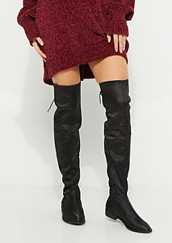 Black Satin Over The Knee Boot By Yoki
