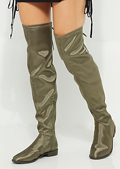 Olive Satin Over The Knee Boot By Yoki