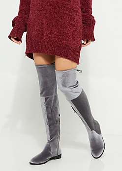 Gray Velvet Over The Knee Boot By Yoki