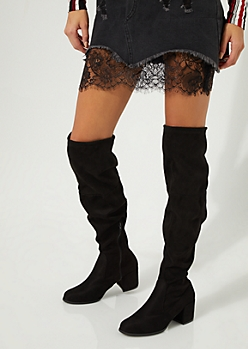 Black Over The Knee Heeled Boot By Yoki