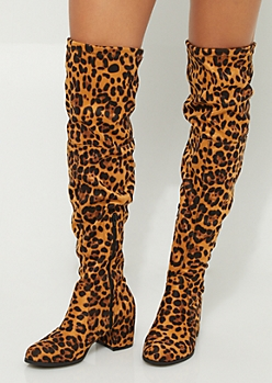 Leopard Over The Knee Heeled Boot By Yoki