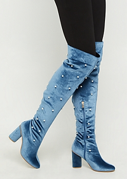 Blue Velvet Pearl Over The Knee Boot By Yoki