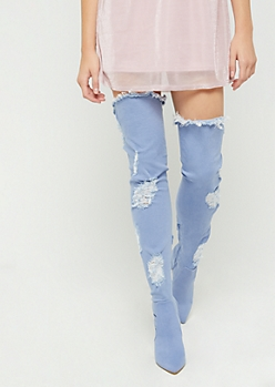 Blue Destroyed Denim Thigh High Boots