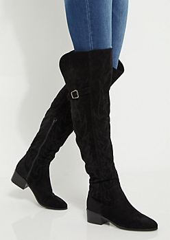 Black Stitched Flame Over The Knee Boot By Yoki