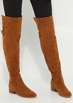 Cognac Stitched Flame Over The Knee Boot By Yoki