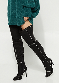 Studded Thigh High Stiletto Boot