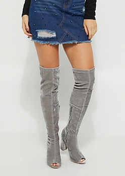 Gray Velvet Peep Toe Over The Knee Boots